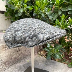 Vintage Harris Tweed Grey Wool Newsboy Cap | XL